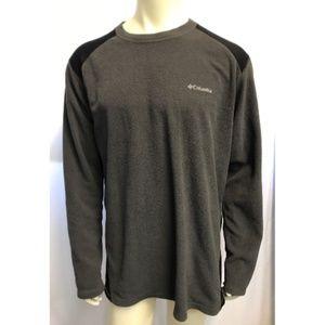 Mens Columbia Gray Crewneck Sweater Black Patch XL
